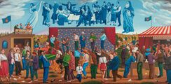 Velká slavnost/Large Celebration, 1998-2016, olej na plátně/oil on canvas, 140x280cm