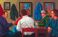 Hráči karet/Card Players, 2004-2005, olej na plátně/oil on canvas, 45x60cm